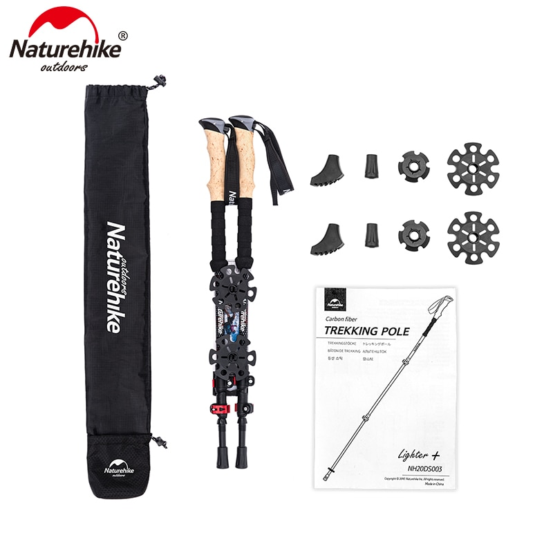 Naturehike Carbon Fiber Trekking Poles Collapsible Telescopic Walking Sticks with Cork Handle Ultralight Hiking Stick NH20DS003