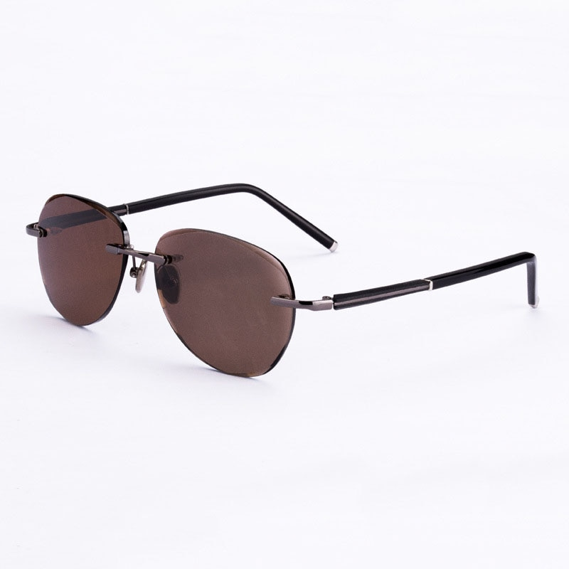 Vintage Rimless Sunglasses Women Men Glass Lens Retro Round Sun Glasses Natural Crystal Stone Lens Sunglass Goggles Brown Oculos  - buy with discount