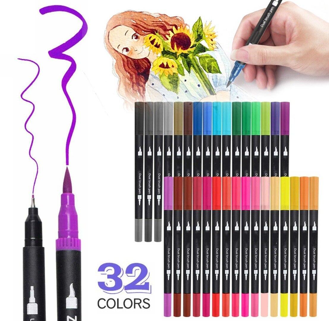 32 farben Dual Tip Pinsel Stifte Kunst Marker Set Feine Liner Marker Stifte Aquarell Pinsel Stifte Zeichnung Skizze Schule Sationery