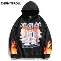 2021 flame bear letter print men hoodies streetwear hip hop harajuku casual pullover hooded sweatshirts men japanese couple tops