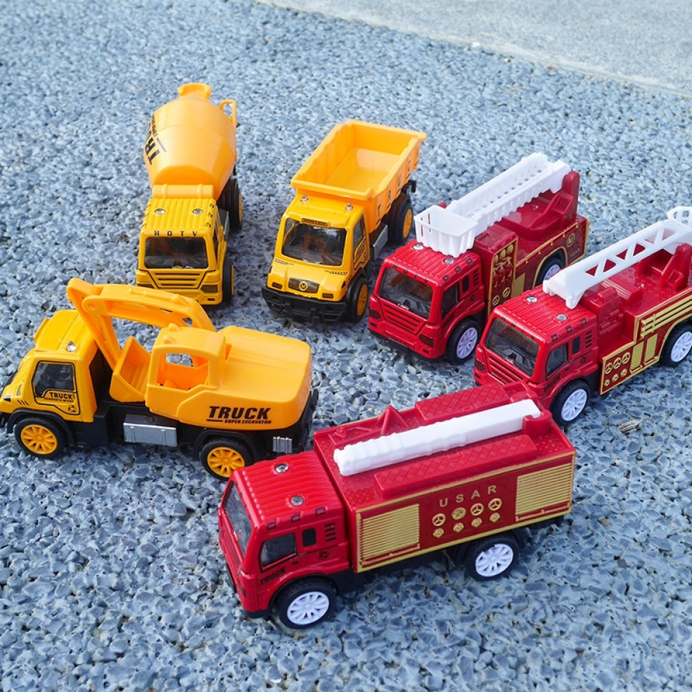 3PCS Alloy Fire Fighting truck Model Car Excavator Trucks Diecast Engineering Construction Vehicle Educational toy Children Gift alloy diecast model trucks transport 1 50 engineering car vehicle scale truck collection gift toy