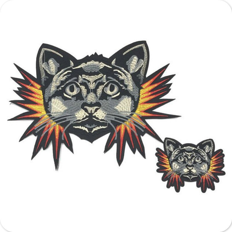 1Pc Cute White Black Fire Flame Cat Dog Animals Patch Baby's Clothing Patches Backpack Decoration Small Applique Iron on Patch