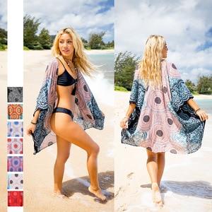 National style women's printed beach sun proof clothing fashionable lightweight long cardigan coat loose kimono cardigan Cape