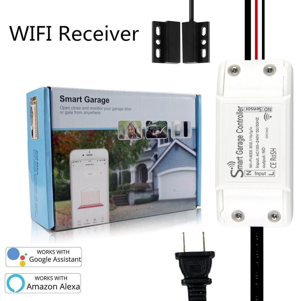 Universal wifi inteligente abridor de porta da garagem controlador para a garantia + 2.0 trabalho com alexa echo google casa nenhum hub exigir