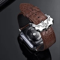 real crocodile skin leather strap band for apple watch 1 2 3 4 5 iwatch watchbands with personality steel buckle