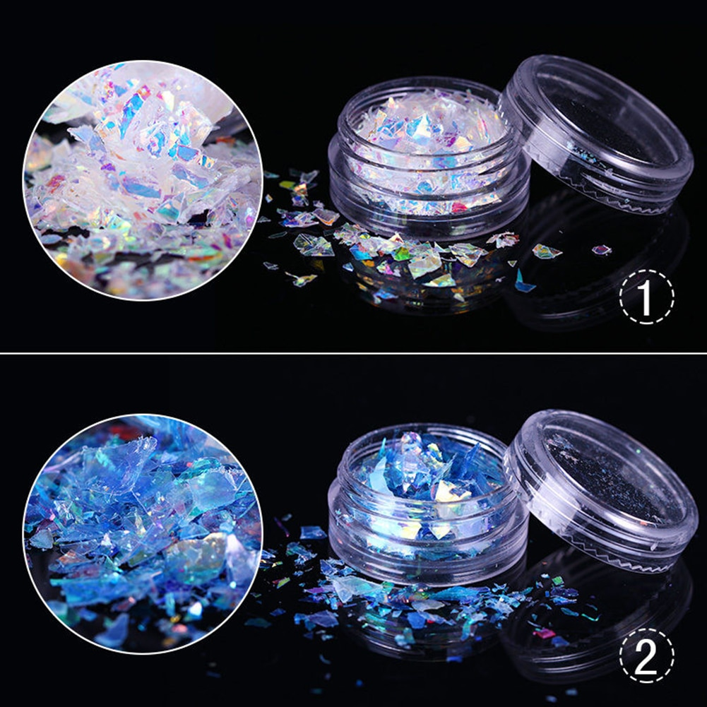 Holographic Nail Glitter Sequins Sparkly 3D Thin Butterfly Flakes Polish Nail Giltter Sequines Fluorescent Glass Paper Dust