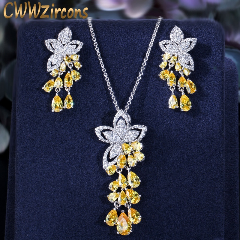 cwwzircons elegant designer green cubic zirconia long leaf drop indian 585 gold earring pendant necklace women jewelry sets t411 CWWZircons 2020 New Arrival Cubic Zirconia Tassel Drop Flower Earrings and Pendant Necklace Fashion Ladies Jewelry Sets T334