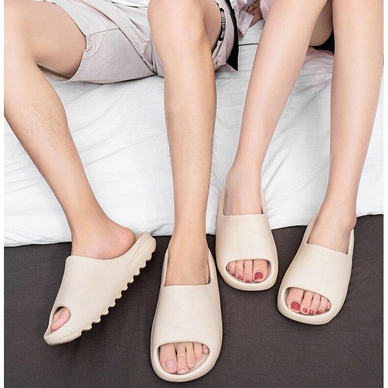Couple Home Soft Slippers Thick Sole Non-slip EVA Indoor Shoes Flat Slides Men Women Beach Ourdoor Light Flip Flops Plus Size 45