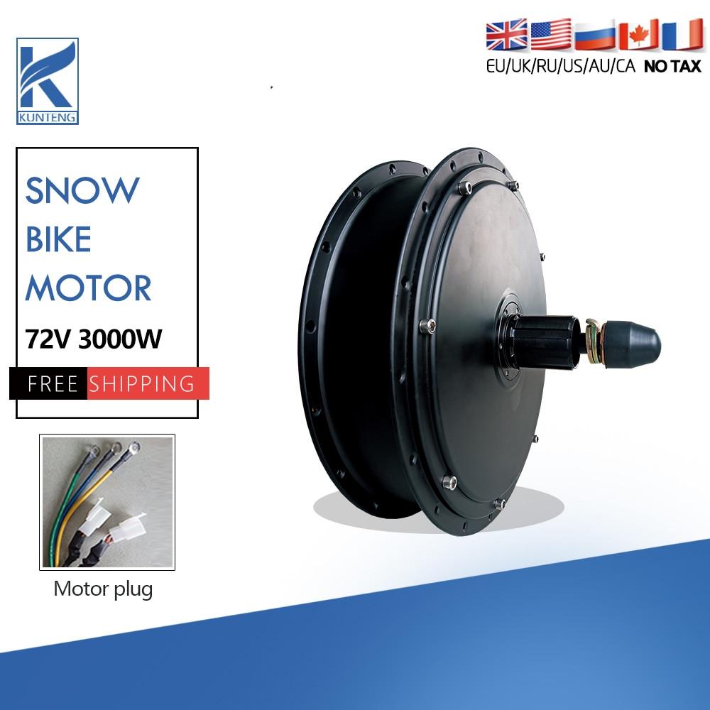 Electric Fat Tire Bike Motor 72V 3000W Rear Wheel Brushless Non-gear Hub Motor For Electric Snow Bike Conversion kit
