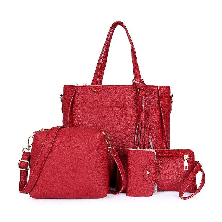 Dropshipping 4 pçs bolsa conjunto senhoras sacos de mão mulher saco composto tote conjunto mensageiro bolsa bolso mujer torebka damska feminino