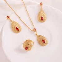 bangrui fashion wedding bridal jewelry set gold color water drop necklace rings earrings sets for women party gifts