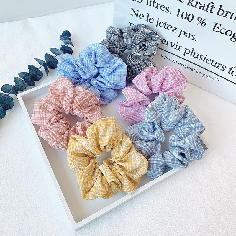 Woman Korean Style Hair Ties Vintage Scrunchies Girls Rubber Band Femme Ponytail Holders Hair Accessories Rope Gum Headwear
