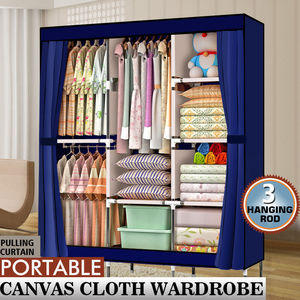 "【US Warehouse】71"" Portable Closet Wardrobes Clothes Rack Storage Organizer with Shelf Blue   Garderobe Wardrobe"