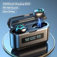 tws bluetooth wireless headphones 2200mah charging box sports waterproof earbuds bluetooth 5 0 earphone headset with microphone
