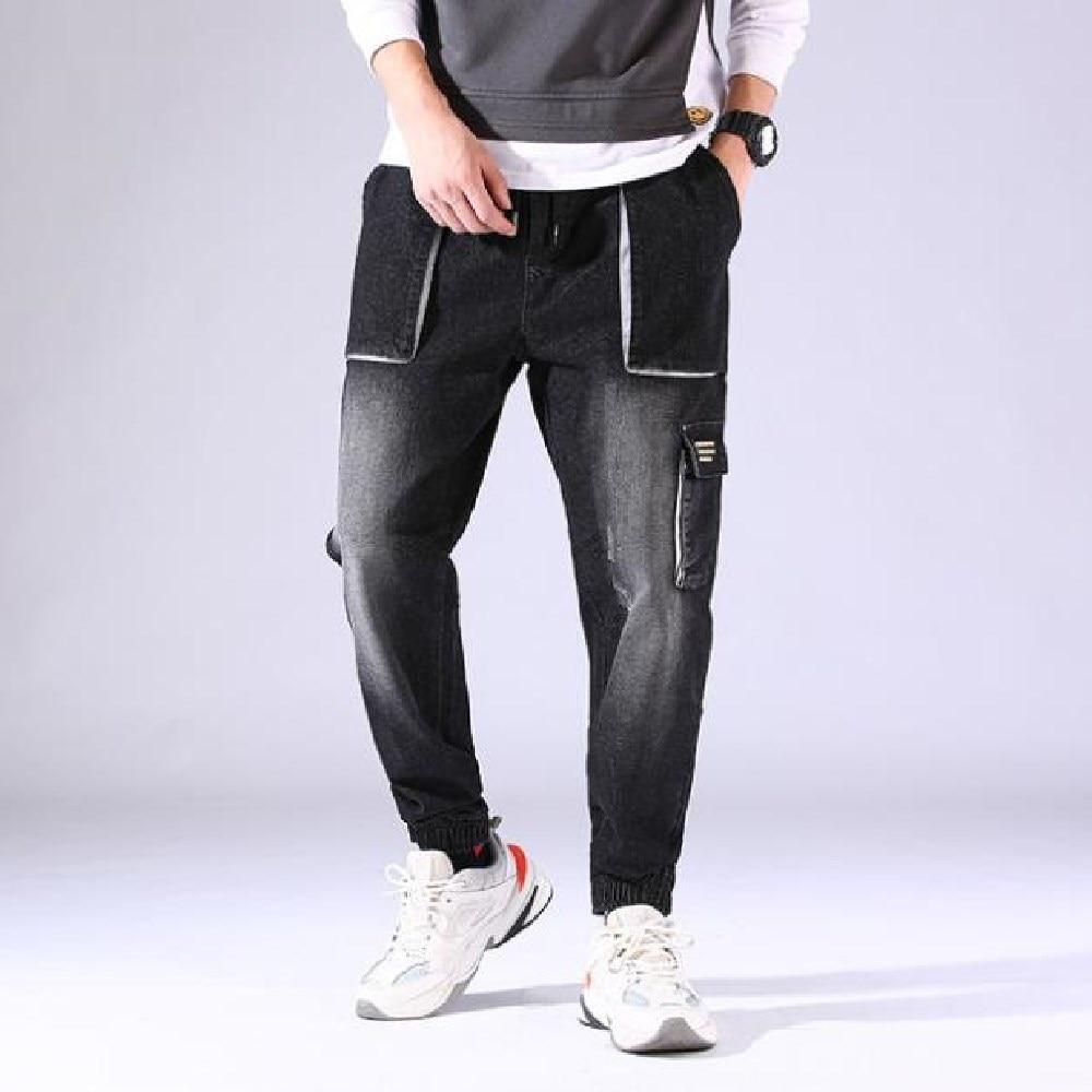 Мужские джинсы Летняя Корейская версия Harun маленькие брюки мешковатые мужские модные белые красивые эластичные джинсы с несколькими карма...