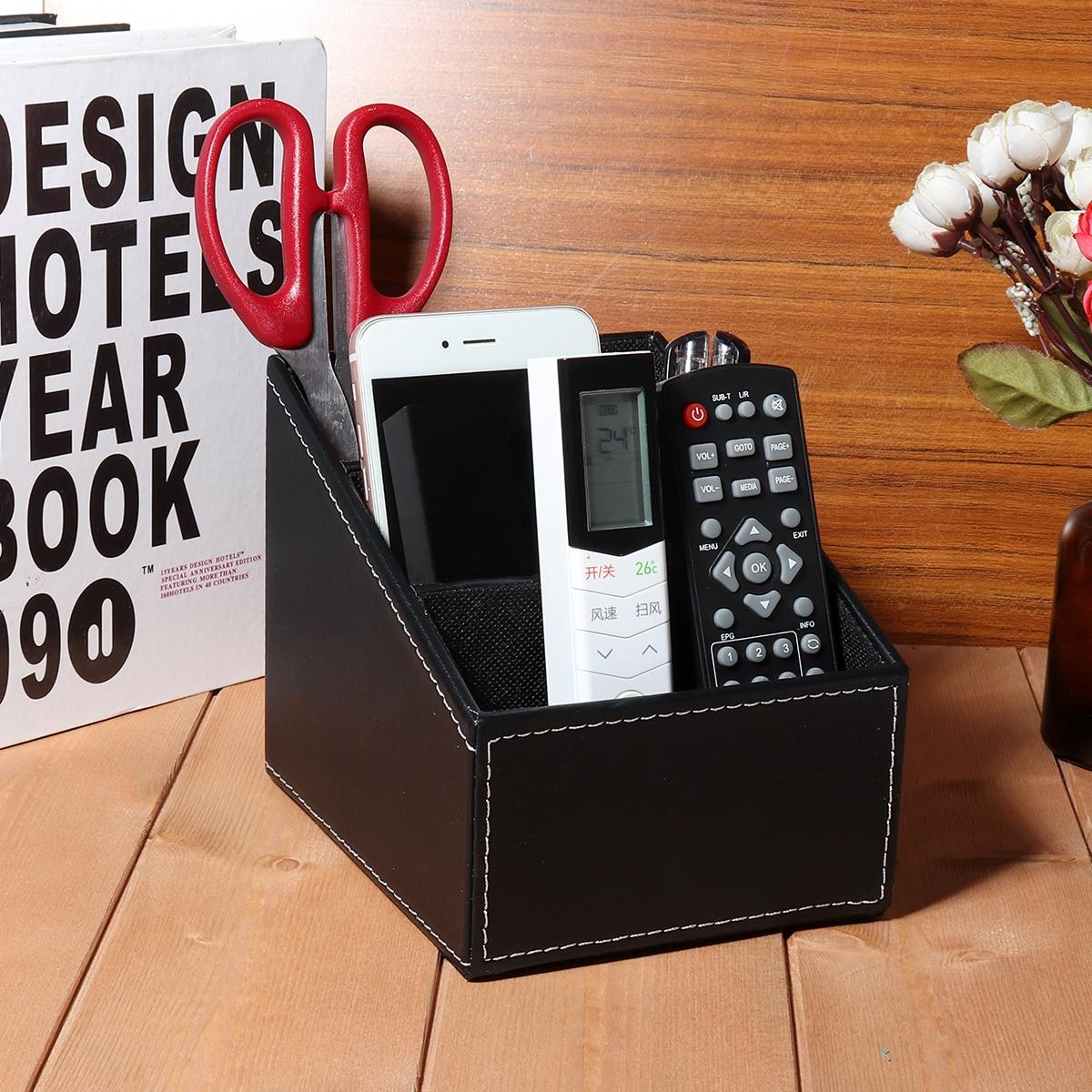 Organizador de teléfono de escritorio de cuero PU con Control remoto para TV caja de almacenamiento de artículos diversos para oficina en casa caja organizadora de escritorio