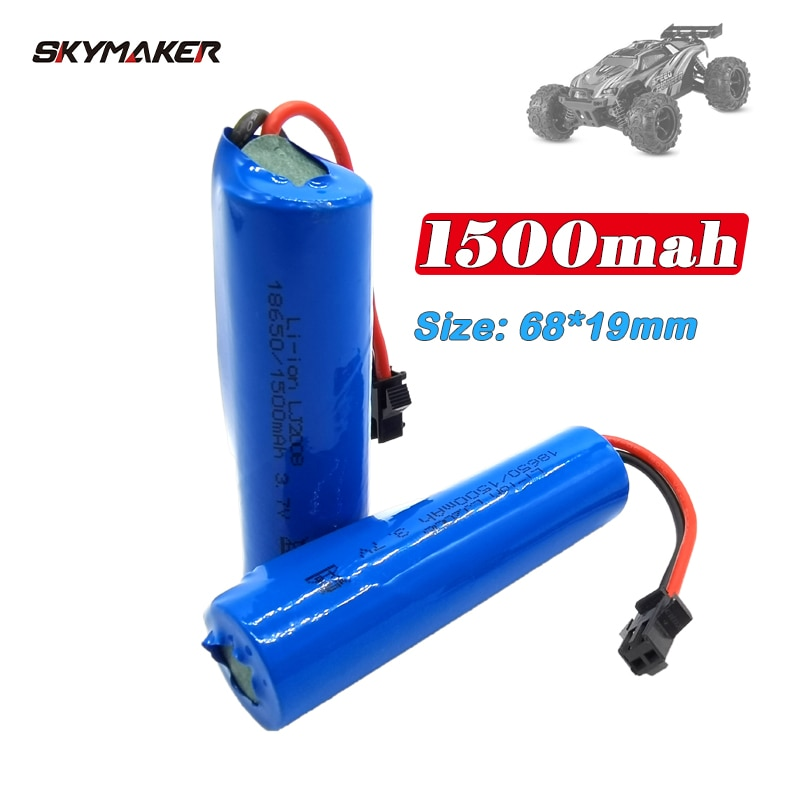 3.7v 1500mah 15C 18650 Li-ion Battery For JJRC RC Stunt Car Q85 Toys SM-2P Plug RC Boat Car Water soft Gun Battery Parts
