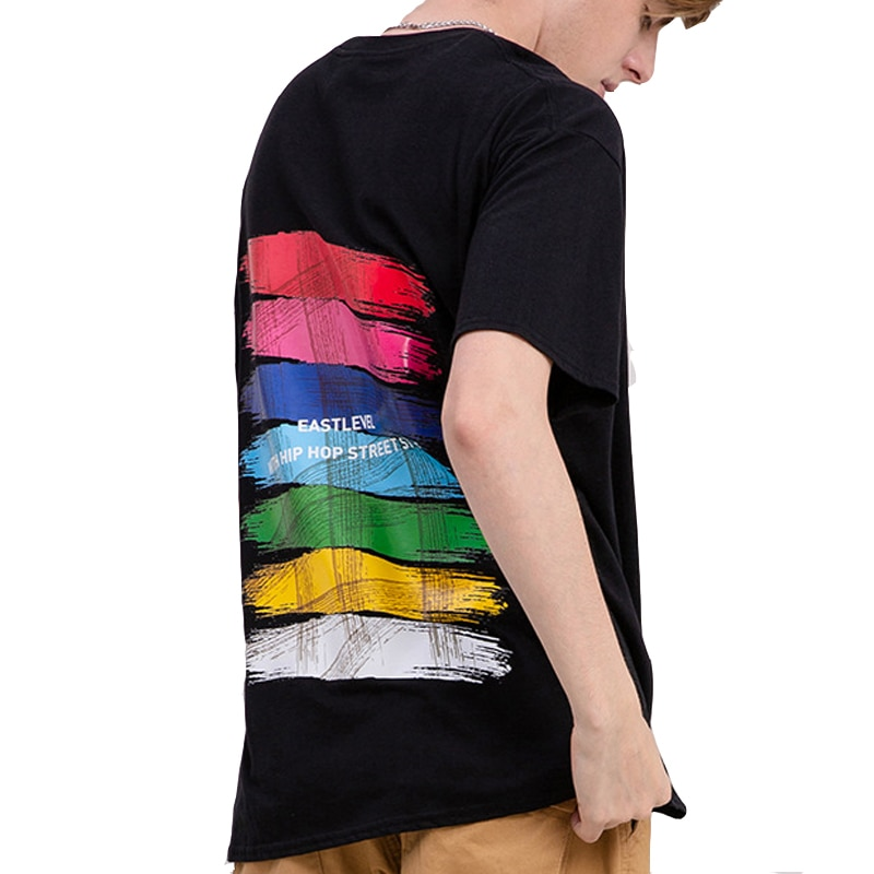 Street Hip Hop T-shirt Men's Summer Cotton Paint Brush Graffiti Print Oversize Couple Short Sleeve Q6351