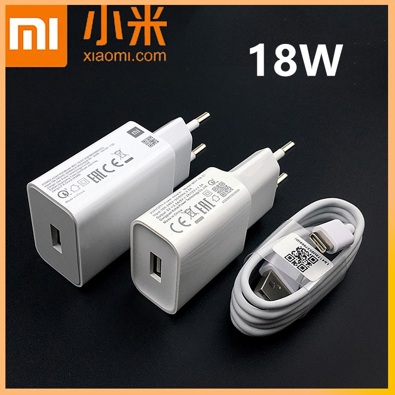 Xiaomi 18W Charger Original QC 3.0 Fast Charge Power Adapter 3A Usb Type C Cable For mi 9 9se a2 mix 2 s redmi note 7 8 9 pro