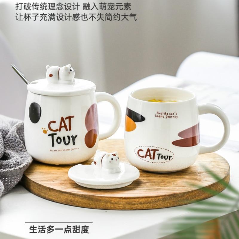 Taza de café bonita de dibujos animados, tazas simples creativas de cerámica con tapa, cuchara Animal, Panda, leche, Espresso, tazas Caneca, utensilios de cocina DB60MK
