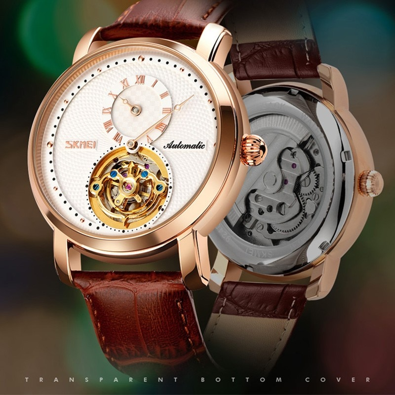 SKMEI-ساعات رجالية ميكانيكية أنيقة ، ساعة يد رجالية ، مينا دائرية مجوفة ، أوتوماتيكية ، 9240