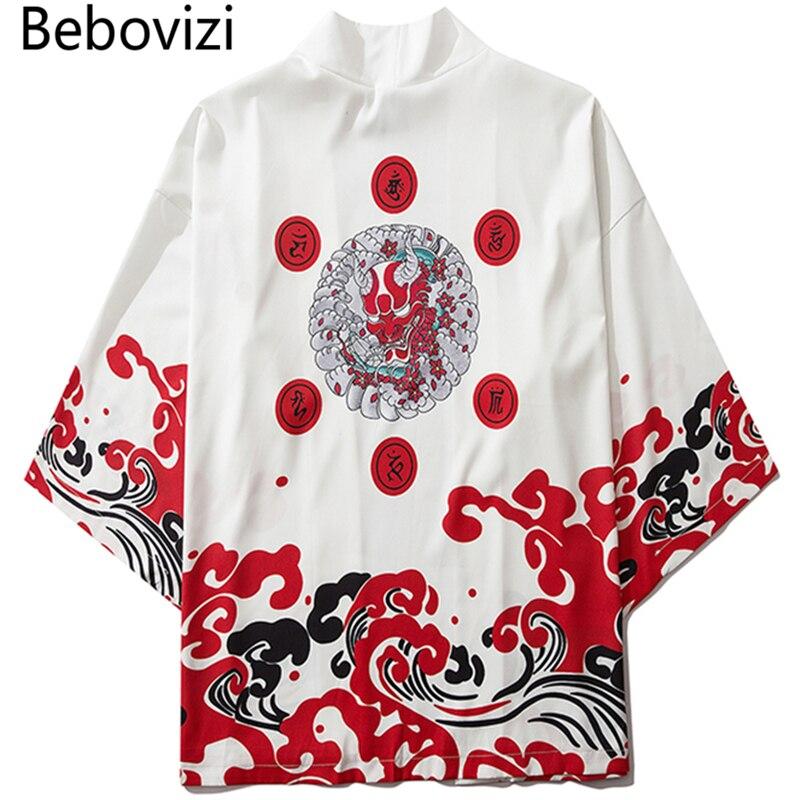 Bebovizi japonês demônio quimono cardigan camisa homem yukata haori obi roupas tradição roupas masculino china quimono robe