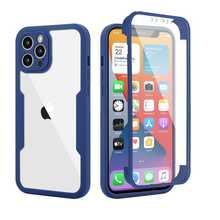 Противоударный защитный чехол с полным покрытием экрана 360 для iPhone 12 Pro Max Mini 11 Xs Max Xr 7 8 Plus SE, прозрачная задняя крышка для телефона
