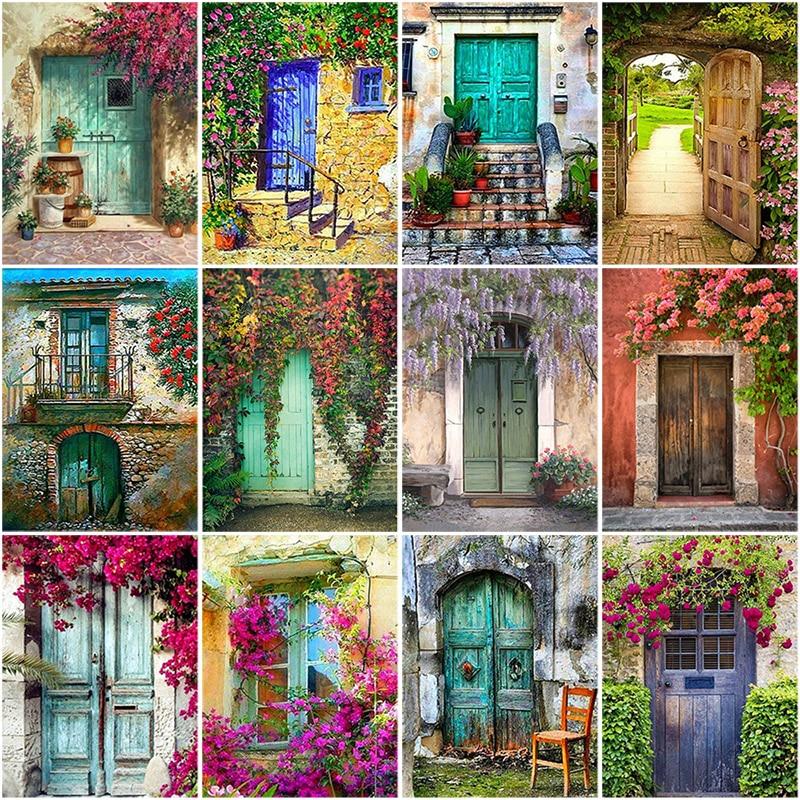 DIY 5D Diamond Painting House Door Scenery Full Round Drill Rhinestone Diamond Embroidery Flowers Mosaic Cross Stitch Decor Home
