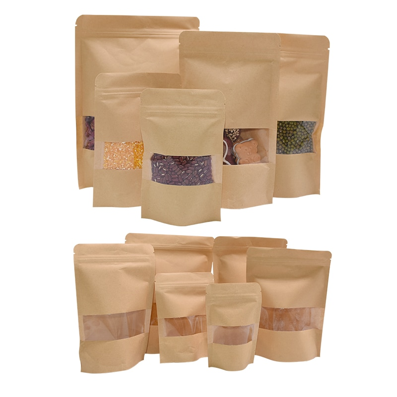 10pcs Transparent Window Kraft Paper Bags Stand Up Pouches Tea Coffee Bean Gift Candy Wrapping Supplies Food Storage Zipper Bags