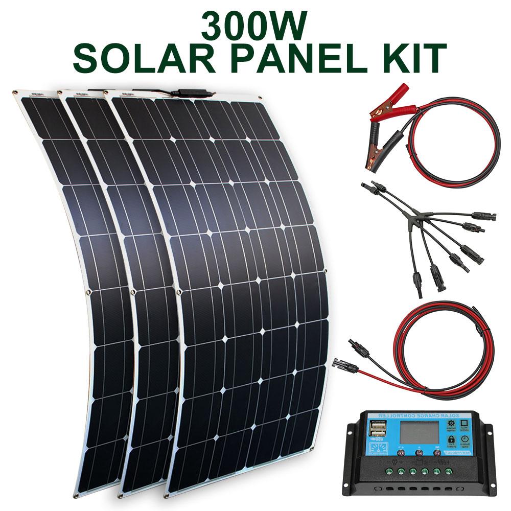 مجموعة اللوحة الشمسية و 300 واط 200 واط 100 واط لوحات شمسية مرنة 12 فولت 24 فولت شاحن بطارية عالية الكفاءة وحدة