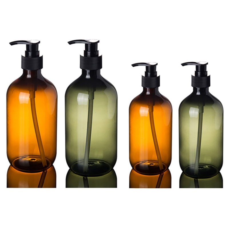 Large Capacity Amber Shampoo Lotion Press Bottle Empty Shower Gel Container Pressed Pump Bottle For Soap Shower Gel 300/500ml
