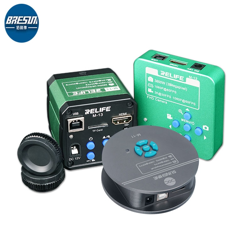 RELIFE M-12/M-13 3800 واط 2 كيلو 1080P HDMI ثلاثي العينيات انعكاس المجهر HD كاميرا للهاتف CPU PCB مراقبة لحام إصلاح أدوات