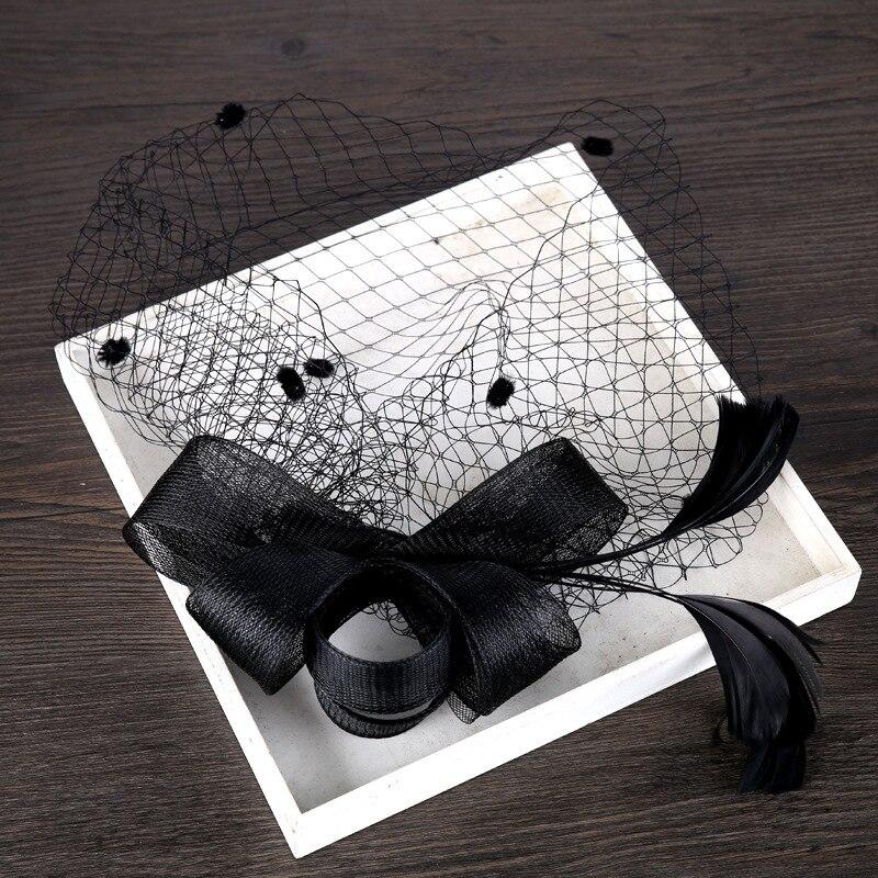 Tocado de malla para Mingli Tengda, tocado con horquillas para banquete, tocado de novia negro para Accesorios DE BODA nupciales, Tiara para boda