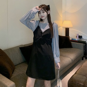 Two-Piece Set for Women 2021 Spring New Korean Style Retro Plaid Top Temperament Mid-Length Sling Dress goth lolita dress