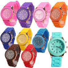 Girl Boy Quartz Wrist Watch with Jelly Candy Color Silicon Watchband Round Dial WristWatch Students