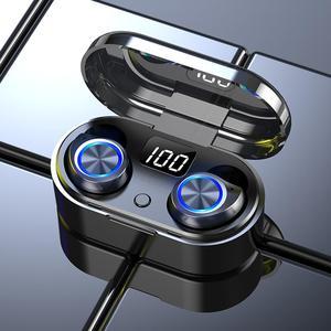 TW80 Bluetooth Wireless Headset LED Digital Display TWS Bluetooth Headset 5.0 Stereo Sound Effect HD Call Sports Earphone
