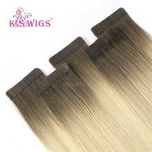 K.S peruk 16 ''20'' 24 ''bant insan saçı postiş çift çekilmiş cilt atkı yapışkan Remy saç ekleme Ombre renk