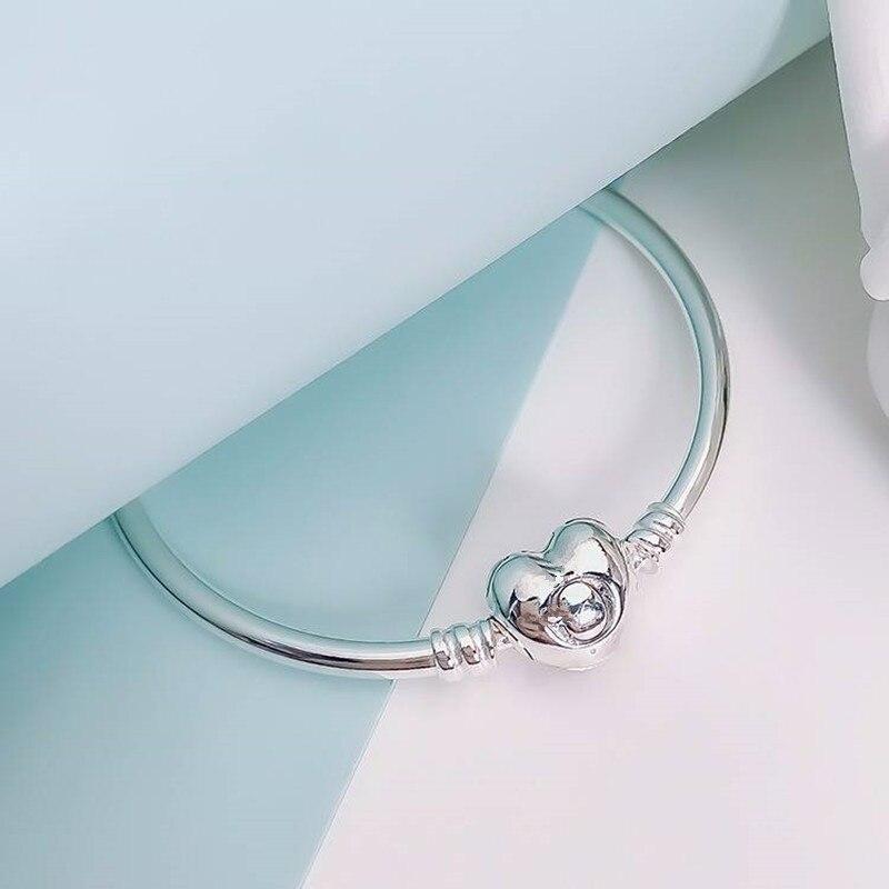 Pan Jia Yi Gu corazón clásico amor en forma de corazón pulsera de cadena de oro rosa base amor hebilla de plata