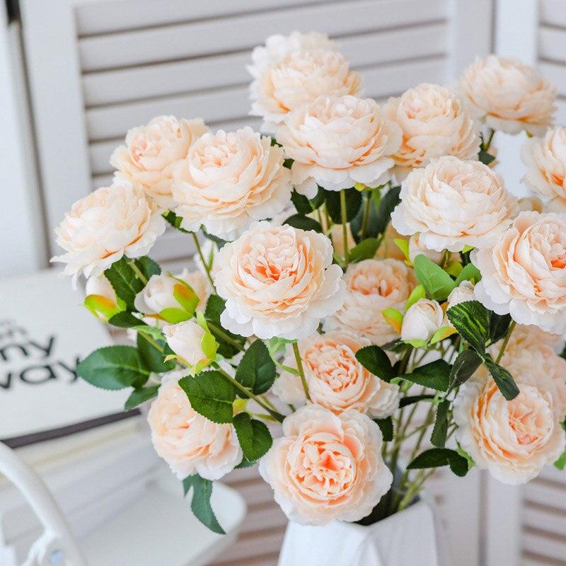 1 unidad de flores de Rosa artificiales, 3 cabezas, peonías blancas, flores de seda, rojo, rosa, azul, flores falsas, decoración de boda para el hogar, ramo de peonías