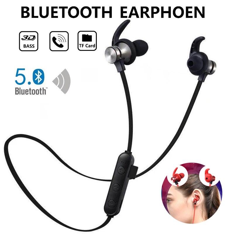 Fones de ouvido sem fio esportivos com bluetooth, headset estéreo bluetooth 5.0 com suporte para cartão tf mp3 com microfone para todos os smartphones