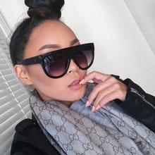 Flat Top Oversized Women Sunglasses Retro Shield Shape Luxy Brand Design Big Frame Rivet Shades Sung