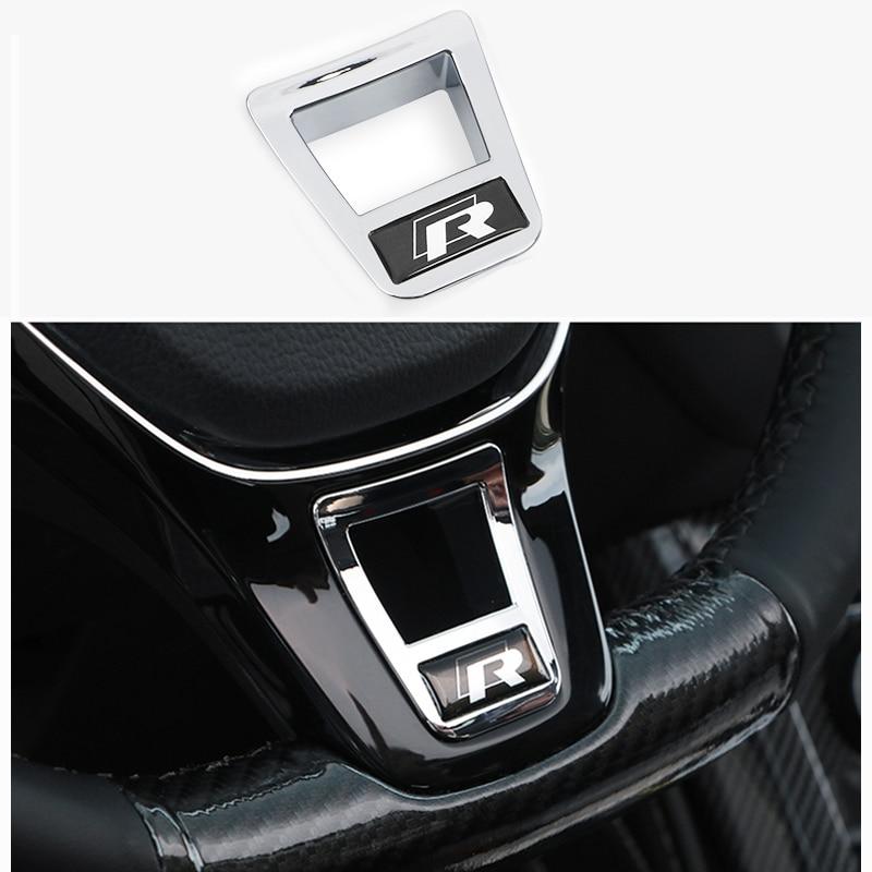 1 pçs abs auto volante capas adesivos para vw golf 7 gti mk7 polo 2014 2015 passat b7 2015 b8 mk6 jetta acessórios