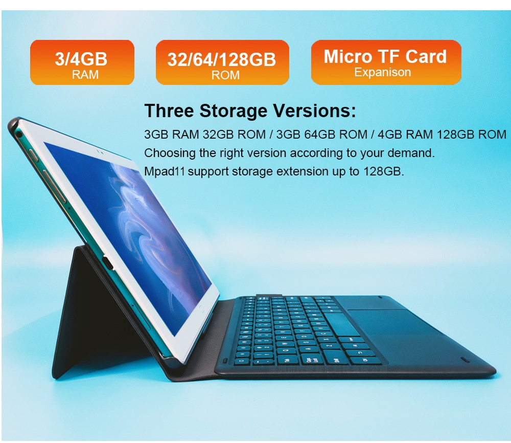 New Design 10.8 Inch 2 In 1 Tablet Laptop 2560*1600 Docking Keyboard 4G Tablet Android 10 Cores MT6797 Dual Camera 13MP enlarge