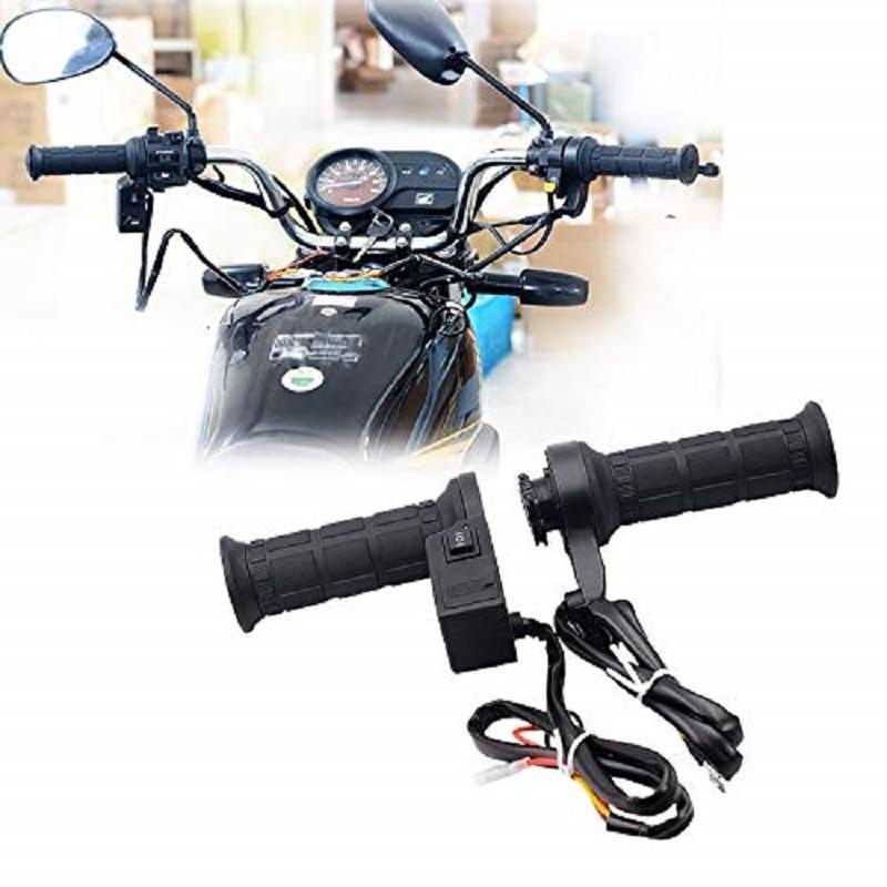 Empuñadura calentada de motocicleta 22mm 12V con temperatura ajustable cargador USB voltímetro motocicleta manija caliente eléctrica
