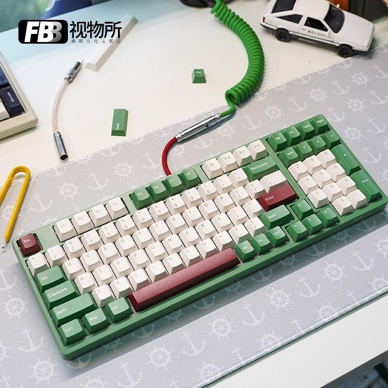 كابلات FBB مخصصة يدويا 3098 لوحة المفاتيح الميكانيكية خط الفاصوليا الحمراء ماتشا GMK التخييم SP موضوع Keycap خط التخصيص