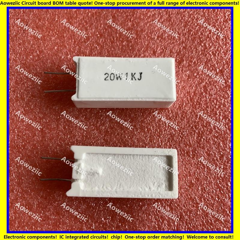 10 pces 20w1kj RX27-5 resistência de cimento vertical 20w 1k ohm 1kr 1kj 1000r 1000ohm resistência cerâmica 5% resistência de energia