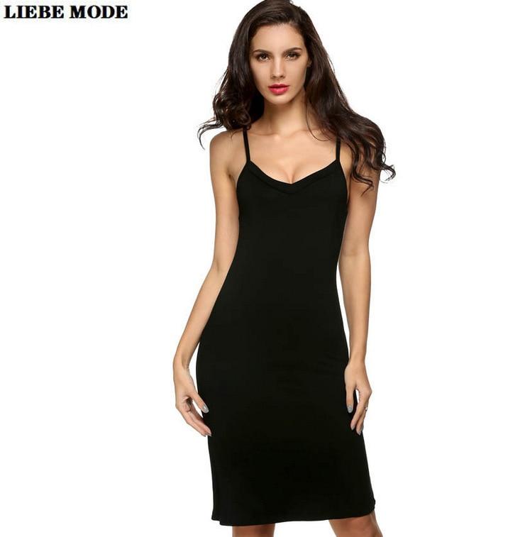 Spaghetti Strap Dress Solid Black White Pink 2020 Summer Sleeveless Bodycon Dresses Knee Length Robe Femme Beach Vestidos