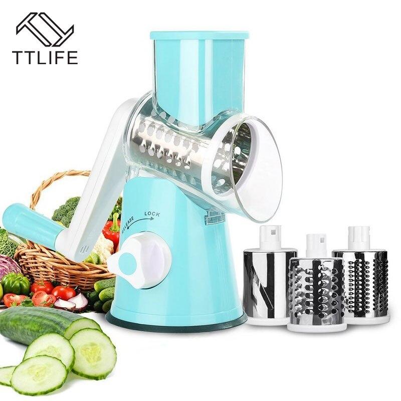 TTLIFE 3 cuchillas de acero inoxidable cortador de verduras cortador de manzana patata zanahoria cebolla picadora rallador cortador duradero Gadget de cocina