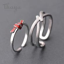 Thaya s925 argent rouge noeud anneau Streak croix valentine bagues pour femmes boho robe corée bijoux femme amant cadeau