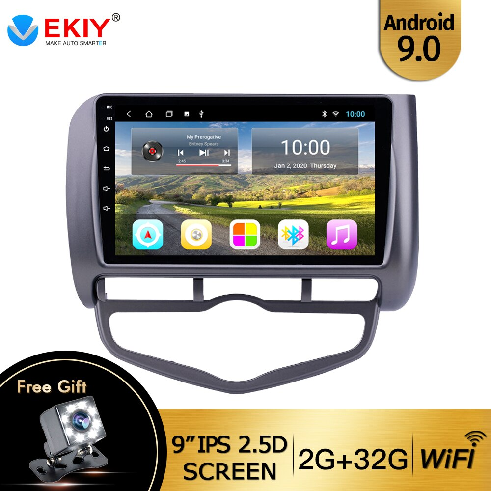 EKIY 9'' IPS Touch Screen DVD Media Player For Honda Fit Jazz 2004 2005-2007 Android 9.0 GPS Navigat